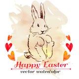 Inconformista del conejito de pascua watercolor Vector Pascua feliz Fotografía de archivo libre de regalías