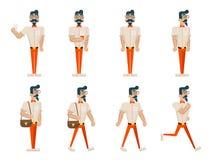 Inconformista del friki del inconformista en diverso el hombre de negocios rico corrido Character Icons de la historieta del pase Imagen de archivo libre de regalías
