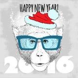 Inconformista del mono de Macaque con los vidrios y el sombrero azules de la Navidad Imagenes de archivo