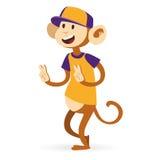Inconformista del muchacho del mono del mono de la foto de Selfie con el casquillo Imagen de archivo
