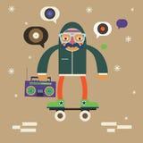 Inconformista en scateboard con el boombox Fotografía de archivo