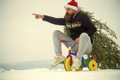 Inconformista enojado que lleva el árbol de Navidad en la nieve blanca imagenes de archivo