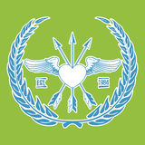 Inconformista Logo Angel Heart del vintage con vector cruzado de las flechas Foto de archivo