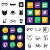 Inconformista todo en los iconos uno negros y el diseño plano del color blanco fijado a pulso Fotografía de archivo