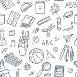 Inconsútil alineado de nuevo a modelo de la escuela con las fuentes inmóviles y otros elementos creativos ilustración del vector