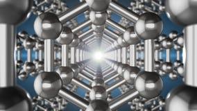 Inconsútil animación loopable del nanostructure del átomo del graphene en la forma de panal Nanotecnolog?a y ciencias del concept ilustración del vector