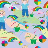 Inconsútil-bebé-fondo-con-bebé, - cepillo, - arco iris-y-flores ilustración del vector