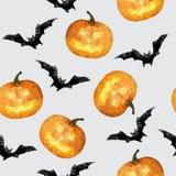 Inconsútil con la calabaza y el fondo de Halloween del palo - vector el ejemplo Imagen de archivo