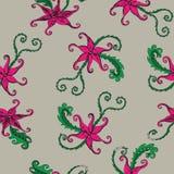 Inconsútil con las flores abstractas Stock de ilustración