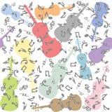 Inconsútil con los violines y las notas musicales Imágenes de archivo libres de regalías