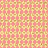 inconsútil Corazón, sol y cinta rojos de rombuses ilustración del vector