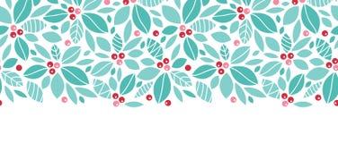 Inconsútil horizontal de las bayas del acebo de la Navidad Imágenes de archivo libres de regalías