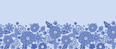 Inconsútil horizontal de las flores holandesas azules de la cerámica de Delft Imagenes de archivo