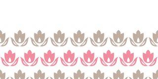 Inconsútil horizontal de las rayas rosadas y marrones de los tulipanes stock de ilustración