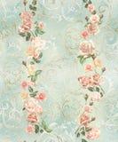 inconsútil, modelo, con las rosas y los monogramas delicados, elegancia lamentable, retra ilustración del vector