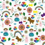 Inconsútil-niño-fondo-con-uno-arco iris-animal-bolas ilustración del vector