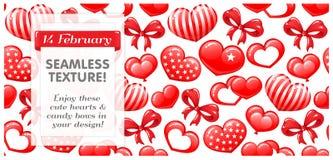 INCONSÚTIL rojo con los corazones y los arcos del caramelo Foto de archivo libre de regalías