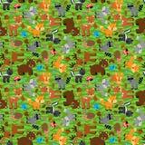 Inconsútil, Tileable Forest Animals Vector Background Fotografía de archivo
