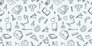 Inconsútiles coloreados de nuevo a modelo de la escuela con los elementos inmóviles y creativos de las fuentes garabatean el dibu libre illustration