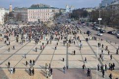 Incontrandosi nel più vecchio quadrato del Kyiv capitale ucraino Fotografia Stock