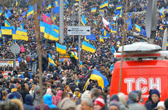 Incontrandosi sul Maidan Nezalezhnosti Fotografia Stock Libera da Diritti