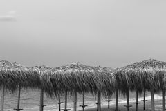 Incontrarsi un nuovo giorno all'alba sulla riva di un mare calmo in Fotografia Stock Libera da Diritti