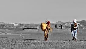 Incontro nel deserto dell'Africa Fotografia Stock