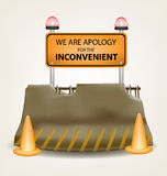 Inconvenient sign and concrete roadblock vector design Stock Photos