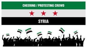 Incoraggiando o protestando folla Siria Fotografia Stock Libera da Diritti