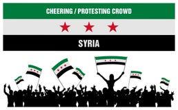 Incoraggiando o protestando folla Siria Immagine Stock
