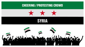 Incoraggiando o protestando folla Siria Fotografia Stock