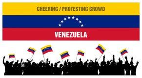 Incoraggiando o protestando folla Venezuela Fotografia Stock