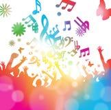 Incoraggiare astratto della folla di festival di musica illustrazione vettoriale
