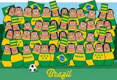 Incoraggiare dei fan di calcio del Brasile illustrazione di stock