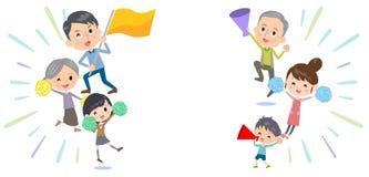 Incoraggiare di sostegno delle generazioni della famiglia tre illustrazione vettoriale