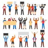 Incoraggiare protestando l'insieme della folla illustrazione vettoriale