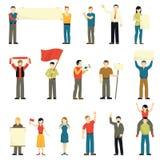 Incoraggiare protestando le icone decorative della gente messe illustrazione di stock
