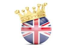 Incoroni con la bandiera del Regno Unito della Gran Bretagna, la rappresentazione 3D Fotografie Stock