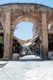Incorporar el mercado de Suq Aftimos del mercado a la calle de Muristan en la ciudad vieja de Jerusalén, Israel imágenes de archivo libres de regalías