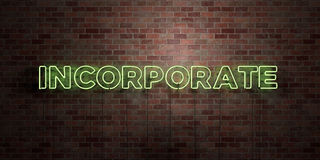 INCORPORATE - fluorescent Neon tube Sign on brickwork - Front view - 3D rendered royalty free stock picture Stock Image