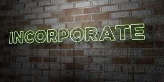 INCORPORATE - Glowing Neon Sign on stonework wall - 3D rendered royalty free stock illustration. Can be used for online banner ads and direct mailers Stock Photos