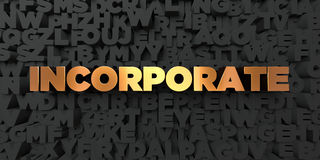 Incorporate - Gold text on black background - 3D rendered royalty free stock picture. This image can be used for an online website banner ad or a print Royalty Free Stock Images