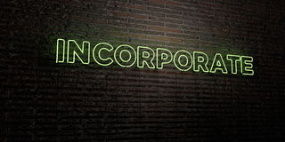 INCORPORATE -Realistic Neon Sign on Brick Wall background - 3D rendered royalty free stock image. Can be used for online banner ads and direct mailers Stock Photo