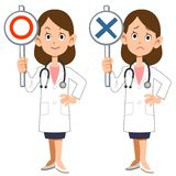 A female doctor shows answers of correct and incorrect. The image of A female doctor shows answers of correct and incorrect royalty free illustration