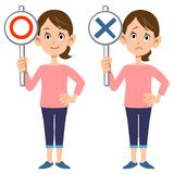 A housewife shows answers of correct and in correct. The image of A housewife shows answers of correct and in correct vector illustration