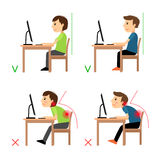 Incorrect and Correct back sitting position. Man and woman sitting before monitor example. Vector illustration Stock Photo