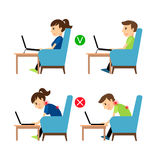 Incorrect and Correct laptop use position. Man and woman sitting in armchair with laptop example. Vector illustration Royalty Free Stock Photo