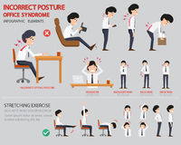 Incorrect posture and office syndrome infographic. Vector illustration Royalty Free Stock Images