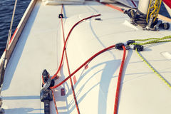 Incorrect, tuning of control system staysail on sports yacht. Stock Images
