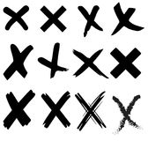 Incorrect wrong cross signs. Different shapes of black vector x incorrect signs Stock Image